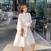 韓国 韓国ファッション レディース シフォン ワンピース Aライン 切り替え