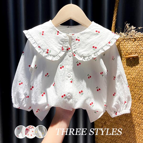 【KID】韓国風子供服  ベビー服 Tシャツ 長袖 花柄 開襟シャツ 女の子 可愛い