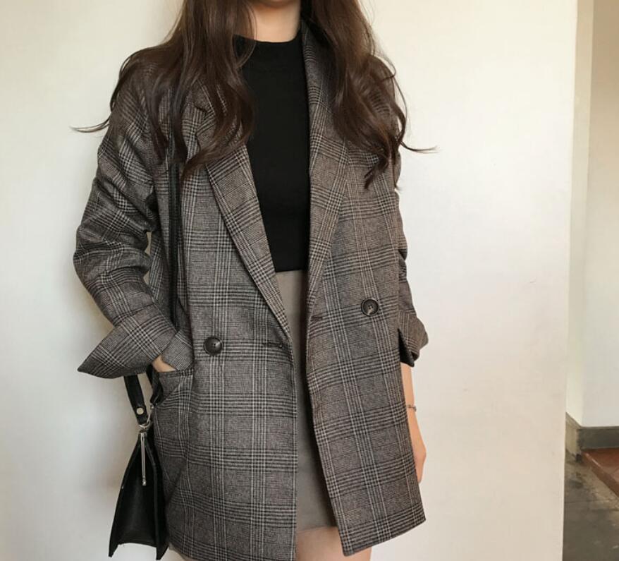 2021年秋冬新作 レディース 韓国風 コート カーディガン スーツスタイル チェック柄 2色フリー