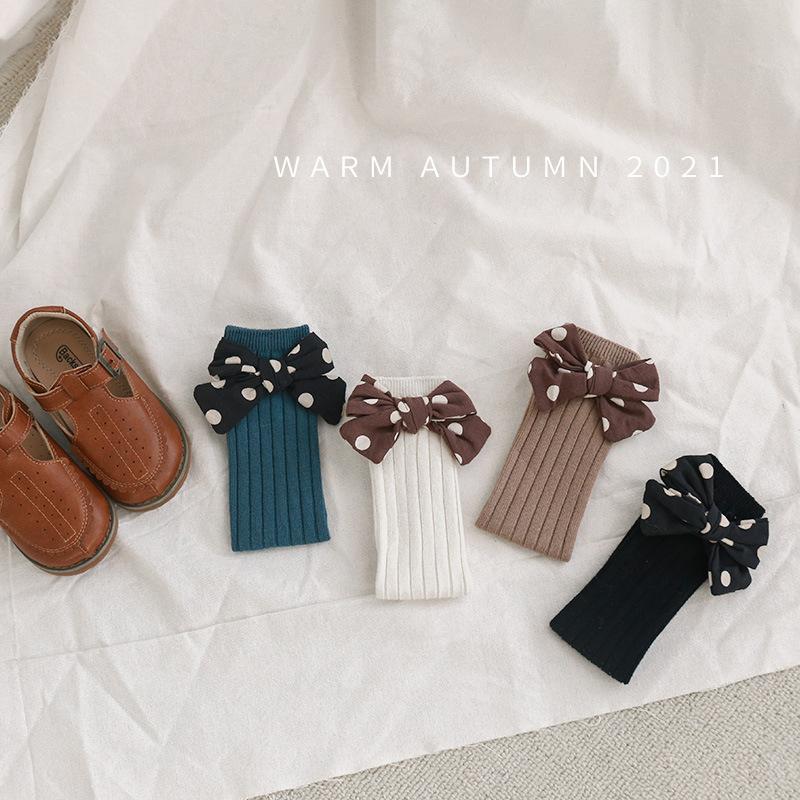 韓国子供服  秋服 ロングソックス靴下リボン可愛い