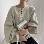 韓国 アーリー シンプル 怠惰な 丸襟 ひもあり 設計感 ヘッジ 松 レジャー ランタン