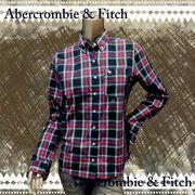 正規品【Abercrombie&Fitch】アバクロ★チェック★長袖★ブラウス★シャツ★ネイビー