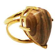 《大きめストーン:フリーサイズ ファッションリング指輪/ファランジリング》 ピクチャージャスパー
