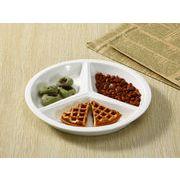 【強化】 ランチプレート(丸型  3つ仕切り)  仕切り皿/ おうちカフェ/白食器