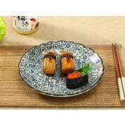 【強化】 8号飾り枠丸皿(青い花集い)    おうち料亭/中皿/大皿/丸皿/和食器