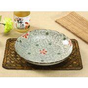 【強化】 9号飾り枠丸皿(赤いコスモス)    おうち料亭/中皿/大皿/丸皿/和食器