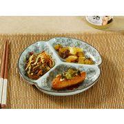 【強化】 7.5号三つ仕切り皿(赤い椿)    おうち料亭/中皿/大皿/丸皿/和食器