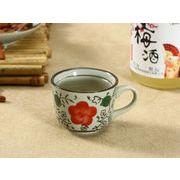 【強化】 エスプレッソコーヒーカップ(赤い桃の花)   コップ/カップ/和食器