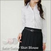 【G1-AS】袖サテンギャザーシャツ(c5839) セレモニー リクルート ビジネス 大きいサイズ