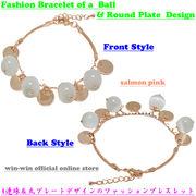 人気モデル☆4連ビー珠&丸プレートデザインのオシャレなファッションブレスレット