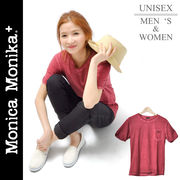 Monica Monika+ コットン100% ウォッシュ加工 ヴィンテージ ユニセックスTシャツ