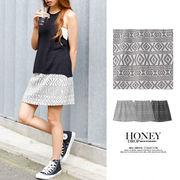 【SALE】ネイティブ柄ふくれジャガード台形スカート