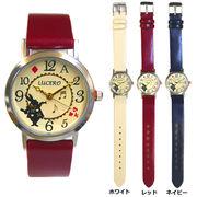腕時計 レディース LE018L 2000 時計 リストウォッチ 女性 革ベルト アリス トランプ 音符 うさぎ