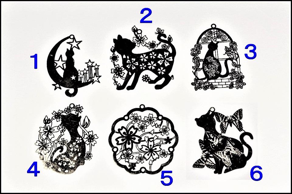 オリジナルデザイン 【銅99%】 極薄メタル 猫パーツ 猫のデザインメタル 猫雑貨 6種類