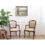 アンティーク イタリア製 刺繍 美しい ビンテージチェア 2脚セット アンティーク家具 椅子 イス