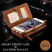 2in1 ウォレット型スマホケース 財布 レザー 革 カードフォルダ キーリング付 大容量