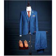 新作 抜群 メンズスーツ スリムスーツ セットアップ ジャケット+パンツ+ベスト3点セット ビジネススーツ