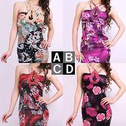 ビジューストラップ花柄オーガンジードレス