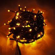 【黄色・イエロー】イルミネーションLEDライト100球 10m 防雨仕様 コントローラ付