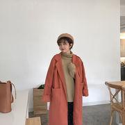 韓国風 新しいデザイン 太もも ウールのコート 女 冬 何でも似合う ルース ロングスタ
