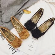 ふわふわシューズ 女 秋と冬 新しいデザイン 韓国風 学生 ピーズ靴 コットン靴 フラッ