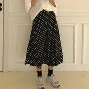 春服 女性服 韓国風 ハイウエスト 何でも似合う 中長デザイン 着やせ ドット ゴム入り