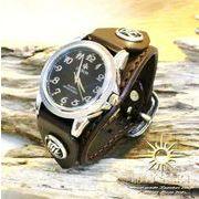 硬質牛革ベルト シルバーコンチョ レザーブレスレットウォッチ シルバー925留め具 ダークブラウン 腕時計