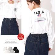 【2018秋冬新作】USAプリントロンT/Tシャツ/トップス