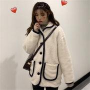 韓国 スタイル ファッション レディース 2018 ゆったり 配色 キルティング コート アウター