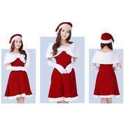 クリスマスイベントに!サンタ衣装セット グローブ 帽子 羽織セット