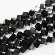 連 オニキス サイコロ  6mm(斜め穴) 素材 パーツ ハンドメイド ビーズ   品番: 3857