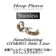 ステンレス★フープピアス(ゴールド&ローズゴールドライン)★SK-Trade