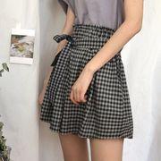 第1 番 女性服 新しいデザイン 韓国風 何でも似合う グリッド ひもあり ワイドレッグ