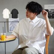 【2019春夏新作】 メンズ ビッグシルエット コットン ブロード 半袖 無地 シャツ