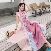 韓国ファッション切り替えロングワンピース レディース二次会パーティー  新作