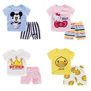 子供用・男女兼用キャラクター半袖綿Tシャツ+半ズボンの2点セット[90-130] :全4色_19D120409