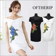 3Dフラワー刺繍オフショルタイトドレス