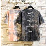 メンズ新作Tシャツ カットソー 半袖トップス カジュアル ブラック/ブルー/ピンク3色