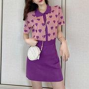 夏 韓国風 新しいデザイン 襟 半袖Tシャツ トップス 女 ハイウエスト 言葉 スカート