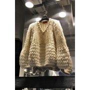 全2色 ニット 厚手 透け編み Vネック ボリューム袖 ゆったり カットソー 韓国風