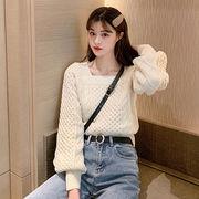 韓国風 怠惰な 気質 スクエアネック プルオーバー 女子学生 ルース アウトドア ツイス