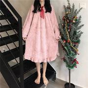 単語 肩 ワンピース かわいい 若いもの スウィート ホーム ナイトドレス 韓国風 秋