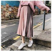 ベロアプリーツスカート配色プリーツ ウエストゴム ロングスカートファッション レディースピンク