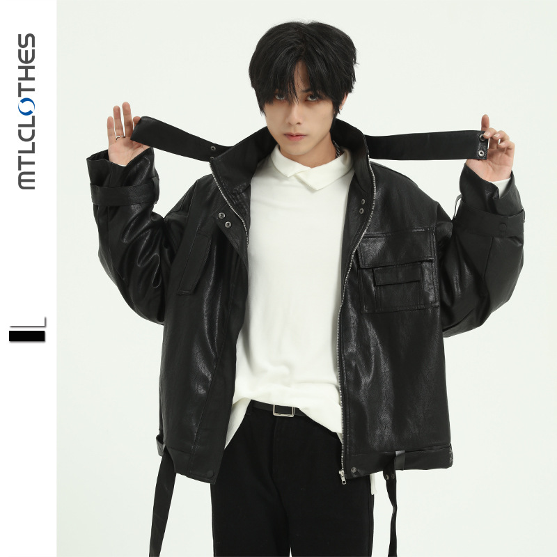 ジャケット ジュアル メンズ PU 上着 スタンドカラー ファッション 長袖 無地  SALE 2019秋冬新作