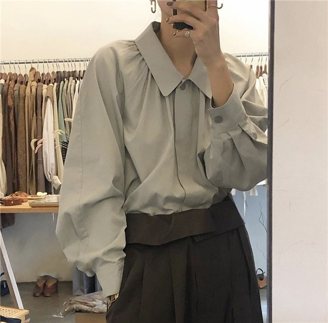 2020年春新作 デザイン性ある 大きめシンプルシャツ