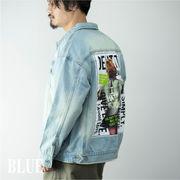 2020新作 デニムジャケット メンズ ビッグシルエット ロゴ ガールプリント Gジャン ジャケット ブルゾン