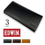 全3色!EDWIN(エドウィン)リアルレザー 二つ折り ロングウォレット 長財布 かぶせ サイフ