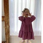 子供服 ワンピース キッズ 子ども 女の子 秋 レジャー ゆったり 綿麻 お姫様 かわいい