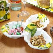 イタリア製 トリプルボウル トリオトレー 食器 陶器製 レモン ボール皿 汁椀 26cm セパレート