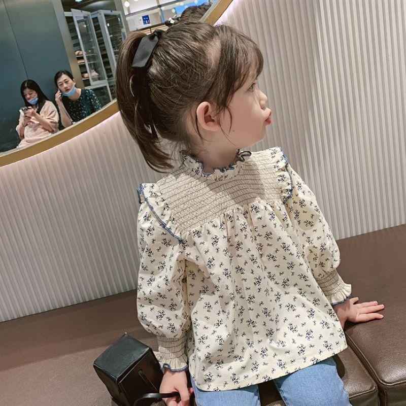 韓国風子供服 韓国ファッション 可愛い 長袖花柄シャツ 薄いトップス 韓国風シャツ